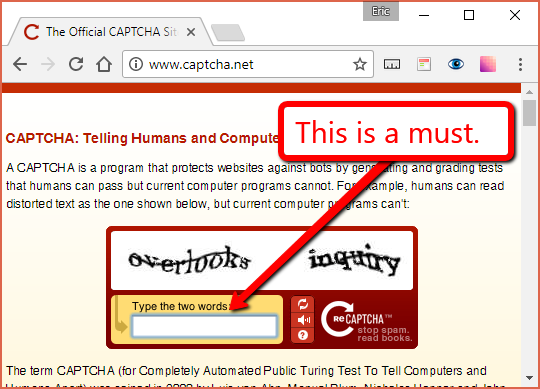 CAPTCHAs help block spam comments