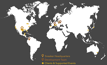 Sneaker Web Design global web development company world map with our locations and client locations