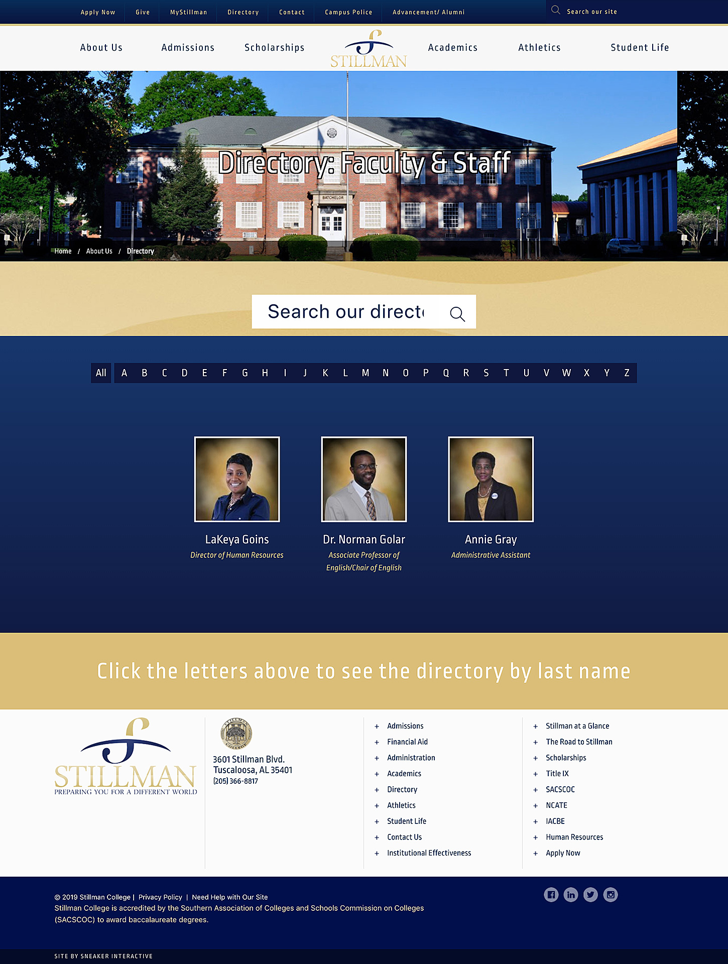 Screenshot of the Stillman College website home page.