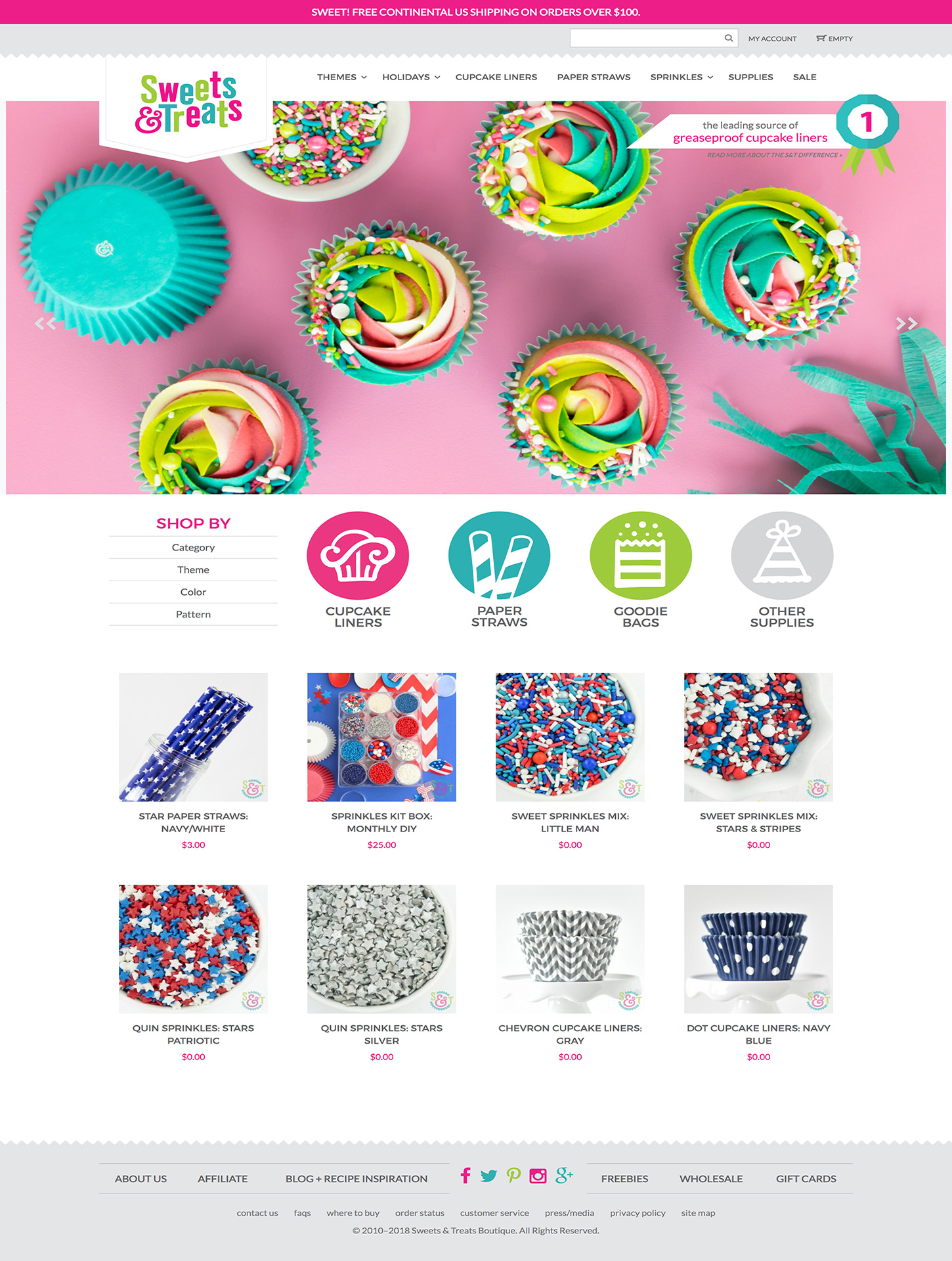 Screenshot of the Sweets & Treats website home page.