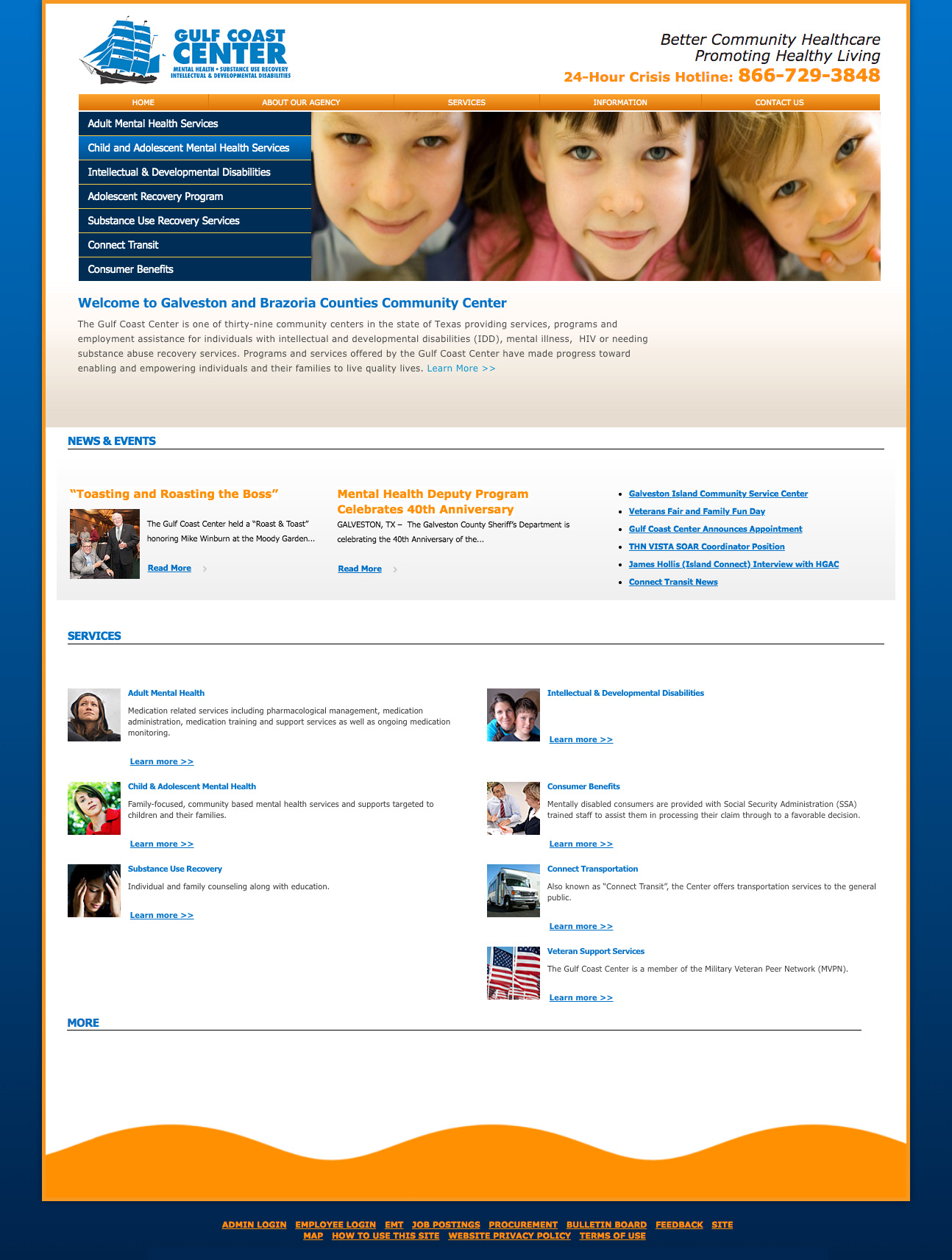 Screenshot of the Gulf Coast Center website home page.