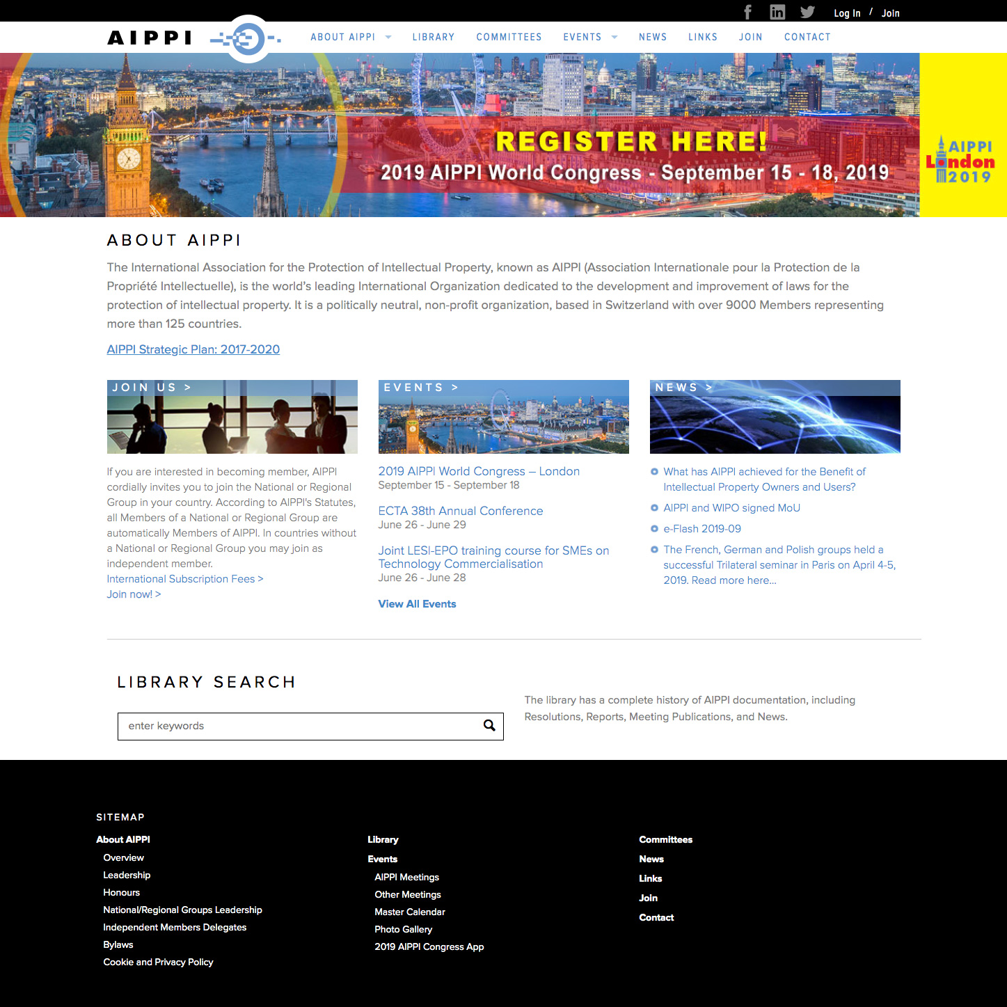 AIPPI home page screen